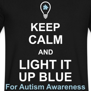 Keep Calm And Light It Up Blue For Autism Awarenes T-Shirts - Men's V-Neck T-Shirt by Canvas