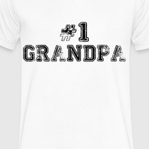 Number One Grandpa T-Shirts - Men's V-Neck T-Shirt by Canvas