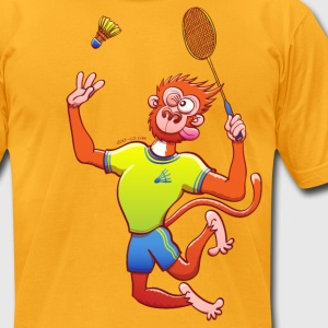 Red Monkey Playing Badminton T-Shirts - Men's T-Shirt by American Apparel