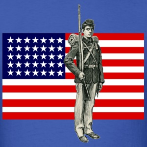 Civil War Soldier with 35 Star American Flag - Men's T-Shirt
