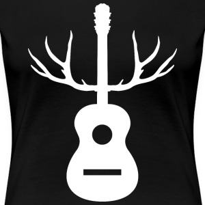 White Antlers Acoustic Guitar - Women's Premium T-Shirt