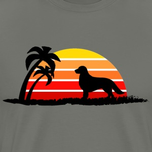 Golden Retriever on Sunset Beach - Men's Premium T-Shirt