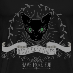 cat__night_creatures_have_more_fun_03201 T-Shirts - Men's Premium T-Shirt