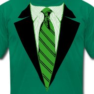 Design ~ Green Coat and Tie with Striped Suit and tie.