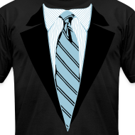 Design ~ Black Coat and Tie with Striped Suit and tie.