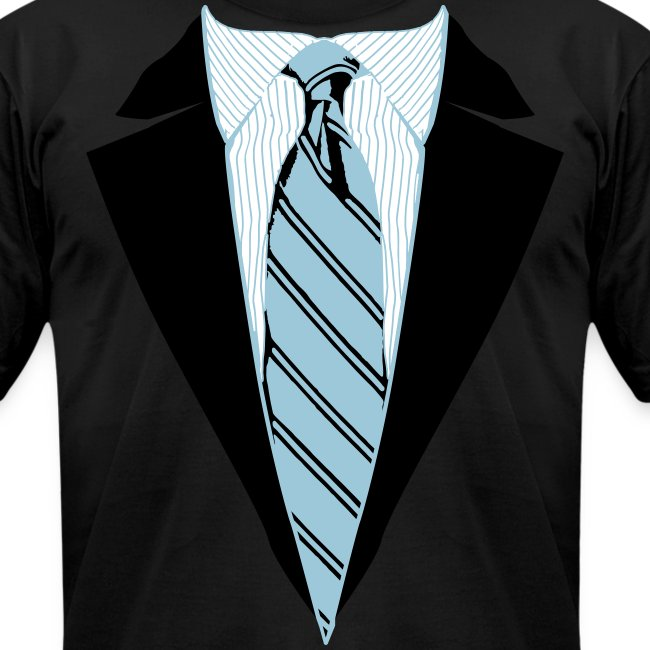 Black Coat and Tie with Striped Suit and tie.