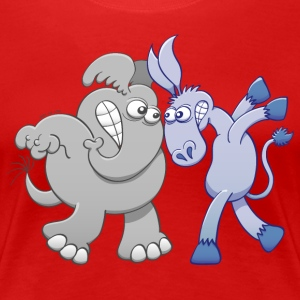 Elephant and Donkey Face to Face Women's T-Shirts - Women's Premium T-Shirt
