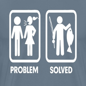 Problem Solved Fishing Marriage FUNNY T-Shirts - Men's Premium T-Shirt