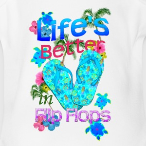 Life Is Better Flip Flops - Short Sleeve Baby Bodysuit