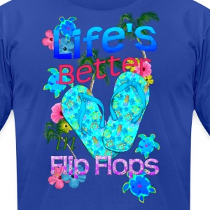 Life Is Better Flip Flops - Men's T-Shirt by American Apparel