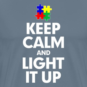 Autism Keep Calm and Light It Up T-Shirts - Men's Premium T-Shirt