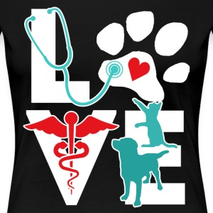 Veterinarian Love Cat and Dog Veterinary T Shirt Women's T-Shirts - Women's Premium T-Shirt
