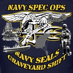 NAVY SEAL COLLAGE NAVY SPECOPS GRAVEYARD SHIFT  T-Shirts