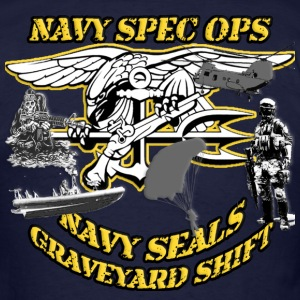 NAVY SEAL COLLAGE NAVY SPECOPS GRAVEYARD SHIFT  T-Shirts - Men's T-Shirt