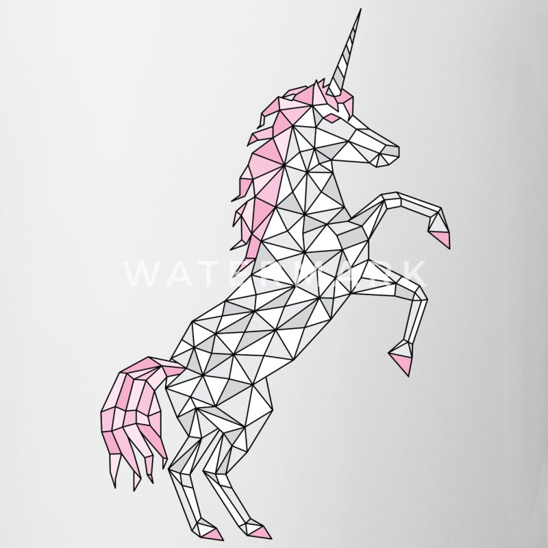 Geometric Unicorn Rearing  Mugs & Drinkware - Coffee/Tea Mug