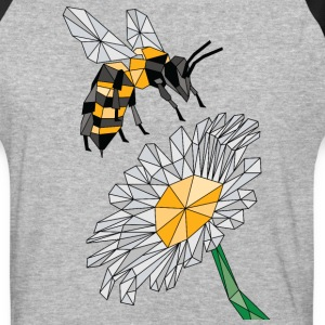 Geometric Bee & Flower T-Shirts - Baseball T-Shirt