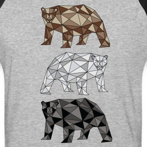 Geometric Bears (grizzly, polar, black) T-Shirts - Baseball T-Shirt