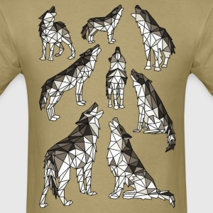 Geometric Wolves Howling At Moon T-Shirts - Men's T-Shirt