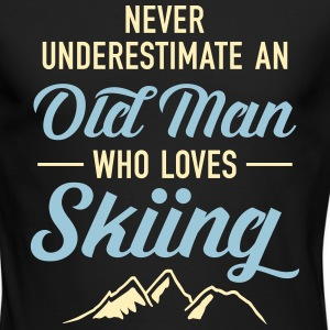 Never Underestimate An Old Man Who Loves Skiing Long Sleeve Shirts - Men's Long Sleeve T-Shirt by Next Level