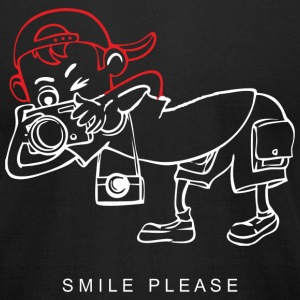 Smile Please Camera art Black t-shirt - Men's T-Shirt by American Apparel