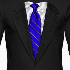 Suit and Tie Real Blue Long Sleeve Shirts