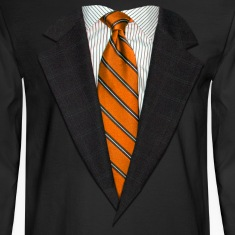 Orange Suit and Tie Long Sleeve Shirts