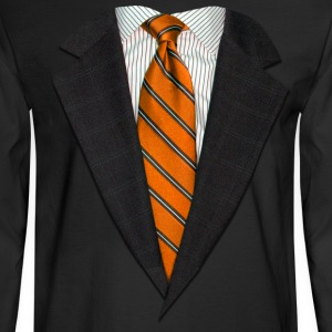 Orange Suit and Tie Long Sleeve Shirts - Men's Long Sleeve T-Shirt