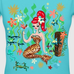 Leopard Martini Mermaid Women's T-Shirts - Women's V-Neck T-Shirt