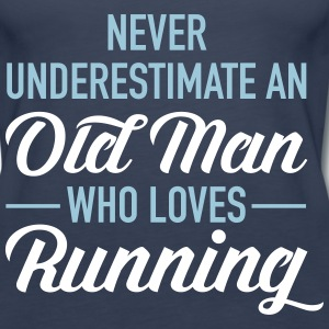 Never Underestimate An Old Man Who Loves Running Tanks - Women's Premium Tank Top