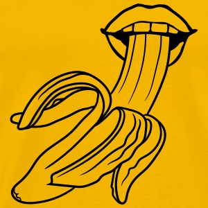 open peeled banana eating delicious sexy hot blow  T-Shirts - Men's Premium T-Shirt