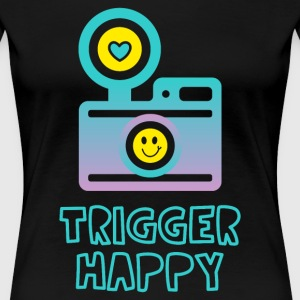 Trigger Happy Photographer Shooting People Happily - Women's Premium T-Shirt