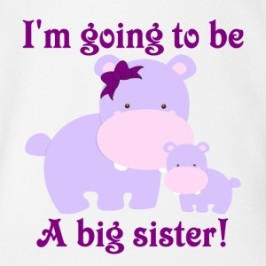 I'm going to be a big sister purple hippos with a  Baby Bodysuits - Short Sleeve Baby Bodysuit