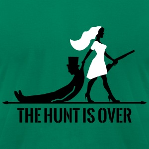 the hunt is over bachelorette bachelor party bride T-Shirts - Men's T-Shirt by American Apparel