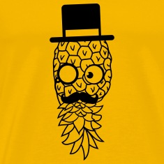 pineapple delicious food mr sir hat gentleman mono T-Shirts