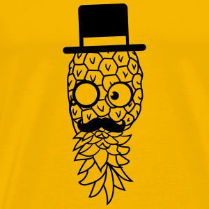pineapple delicious food mr sir hat gentleman mono T-Shirts - Men's Premium T-Shirt
