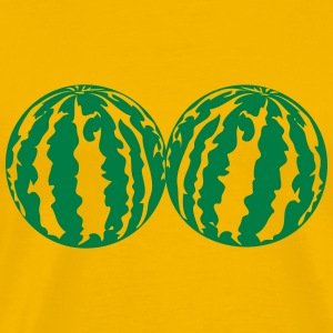 2 melons watermelon bosom breasts balls boobs funn T-Shirts - Men's Premium T-Shirt