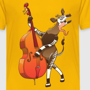 Cool Okapi Playing Double Bass Kids' Shirts - Kids' Premium T-Shirt