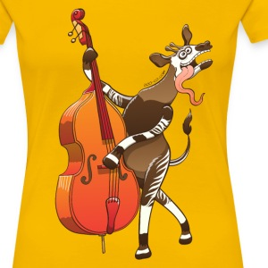 Cool Okapi Playing Double Bass Women's T-Shirts - Women's Premium T-Shirt