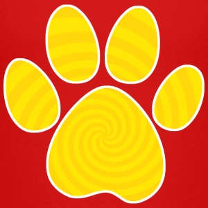Dog Paw Print, Yellow Spiral - Kids' Premium T-Shirt