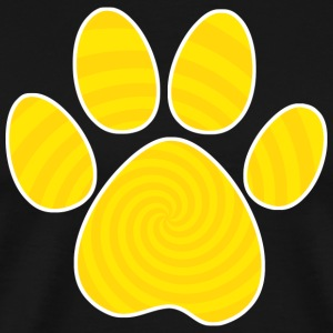 Dog Paw Print, Yellow Spiral - Men's Premium T-Shirt