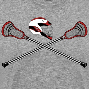 Lacrosse Sticks & Helm Red - Men's Premium T-Shirt