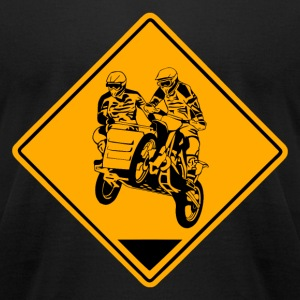Sidecar Moto Cross Road Sign T-Shirts - Men's T-Shirt by American Apparel
