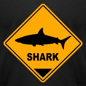 Shark Road Sign T-Shirts - Men's T-Shirt by American Apparel