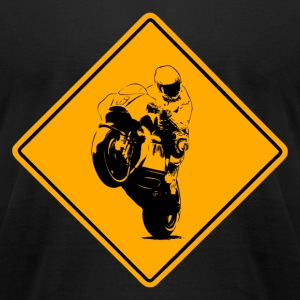 Motocycle Racer Road Sign T-Shirts - Men's T-Shirt by American Apparel
