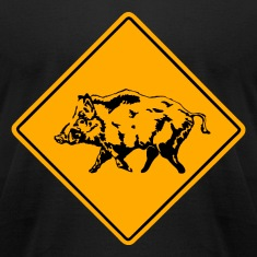 Wild Boar Road Sign T-Shirts