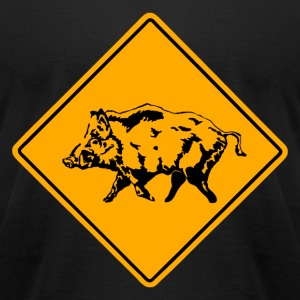 Wild Boar Road Sign T-Shirts - Men's T-Shirt by American Apparel