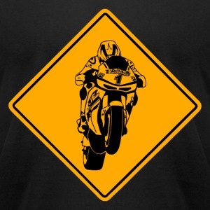Motorcycle Racer Road Sign T-Shirts - Men's T-Shirt by American Apparel