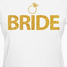 Bride Shirts With Ring Gold Sequins