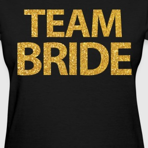 Black Team Bride Shirts With Gold Sequins - Women's T-Shirt
