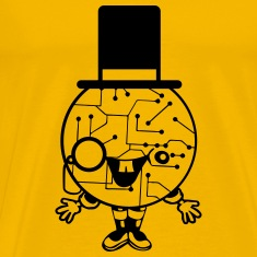 robot sir mr gentlemen cylindrical hat glasses mon T-Shirts